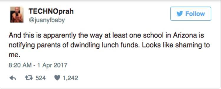 screenshot of tweet describing lunch money stamping incident