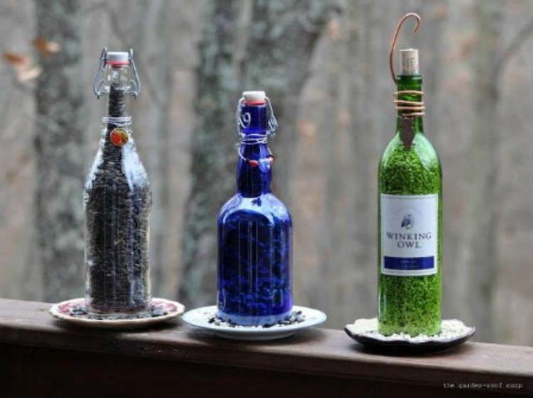 Bottles as birdfeeders.