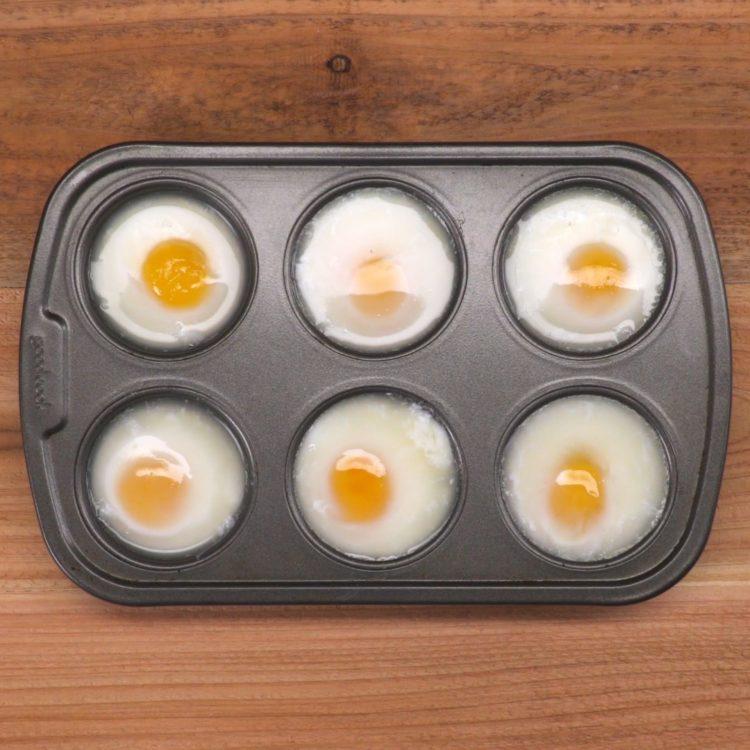 Muffin Tin Poached Eggs in muffin tin