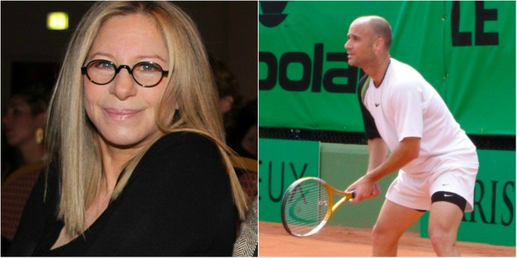 Barbara Streisand and Andre Agassi splitimage