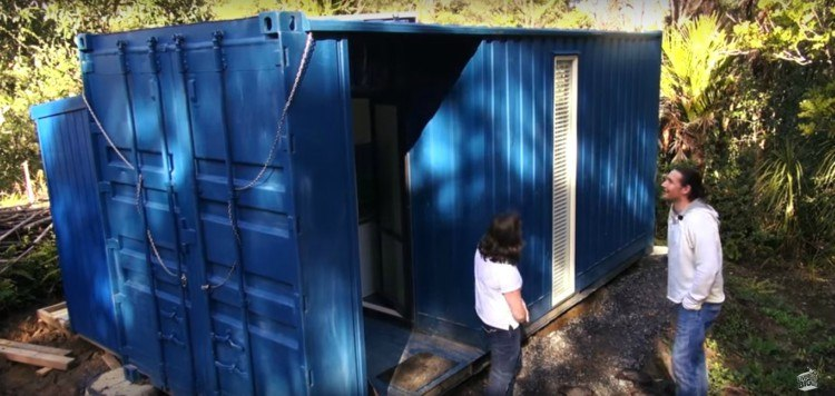 Image of exterior of shipping container house.