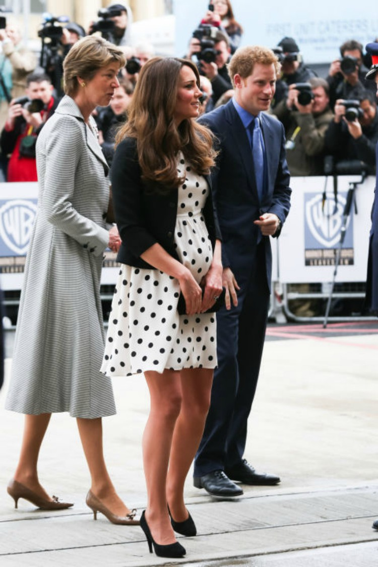 Image of Kate Middleton in polka dot dress.