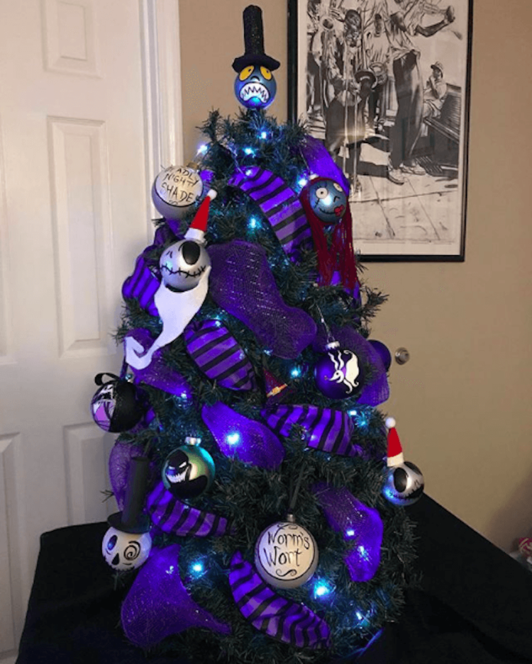 Image of The Nightmare Before Christmas themed Halloween tree