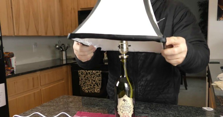 Image of wine bottle lamp.