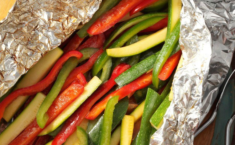 Grilled peppers and zucchini.
