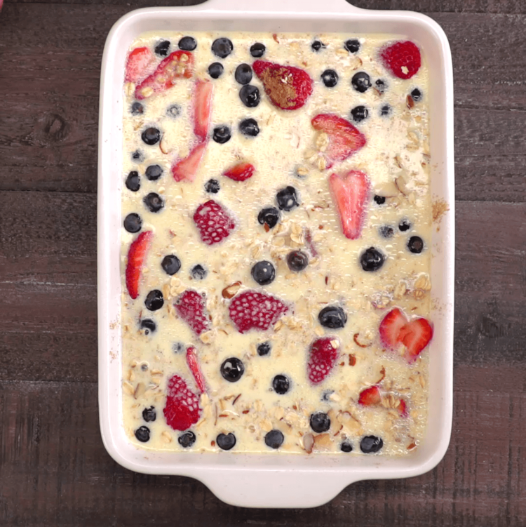 Baked Oatmeal ingredients in casserole dish
