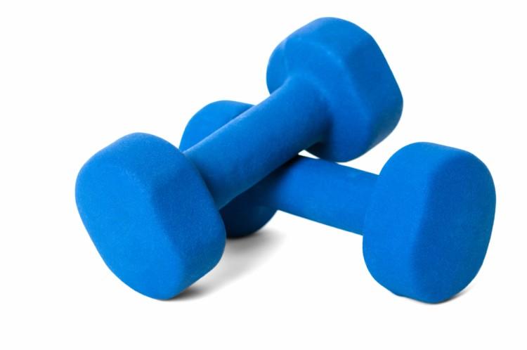 Image of blue dumbbells.