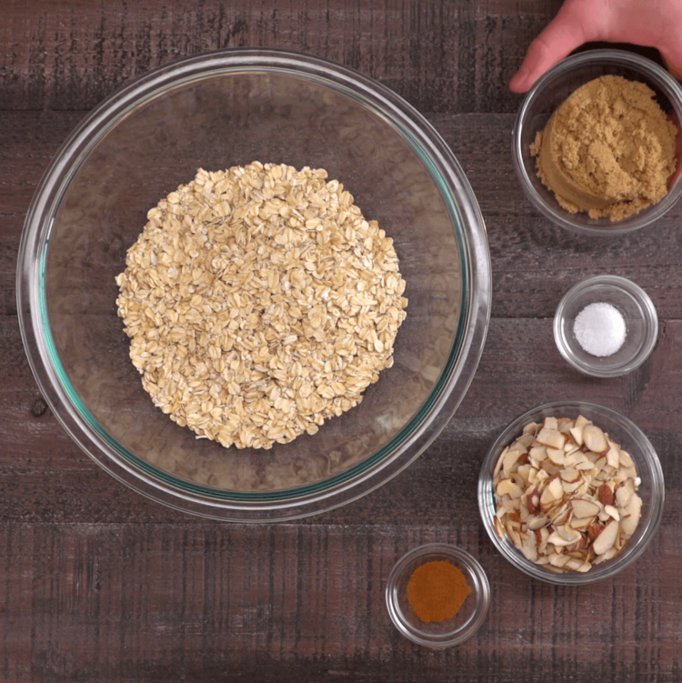 Baked Oatmeal dry ingredients in bowls