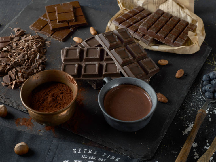 Image of dark chocolate bars and coffee