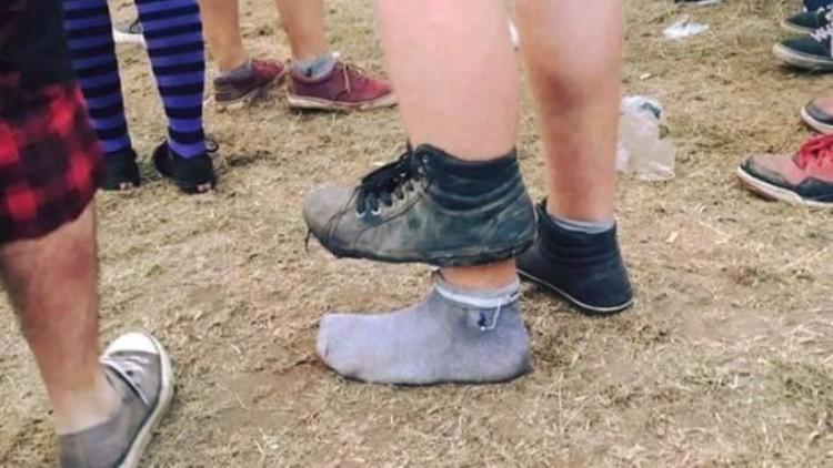 Foot through shoe