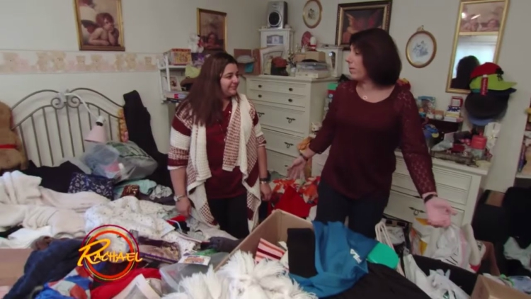 Christina and Mary Ann in Christina's messy bedroom