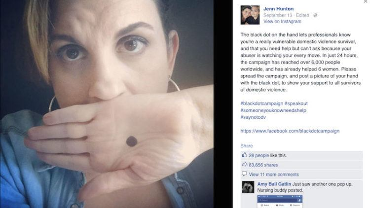 Original Facebook post about the Black Dot Campaign.