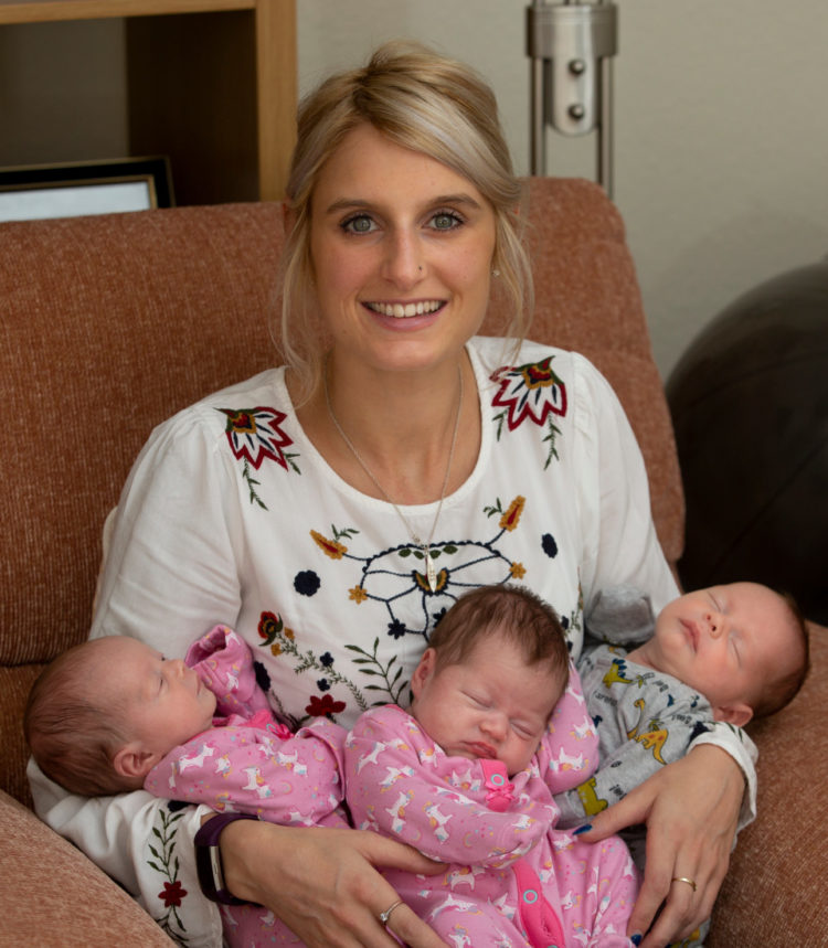 Image of Hannah and 3 babies
