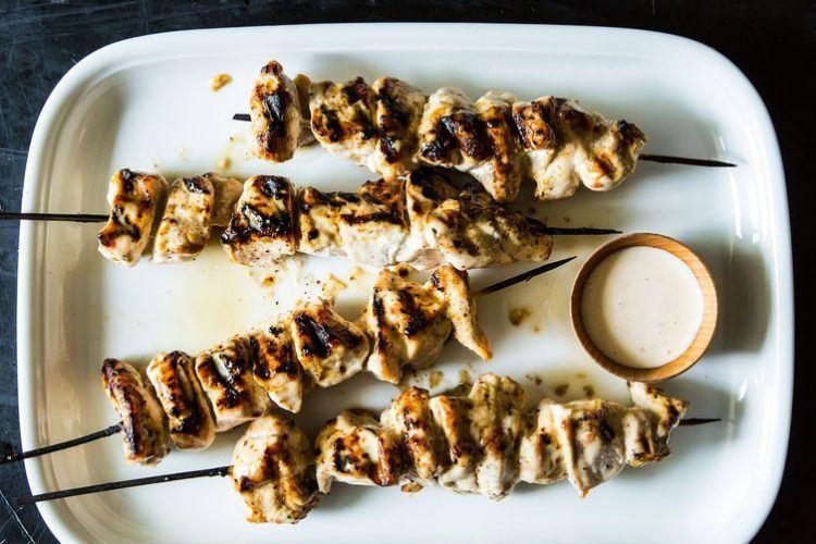 Alabama styled chicken kebabs.