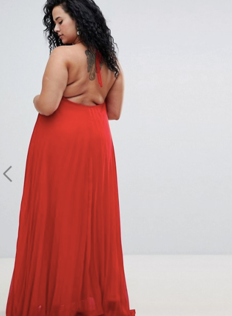 Image of plus-size model in red dress