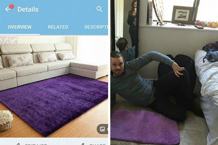 Image of purple rug fail.