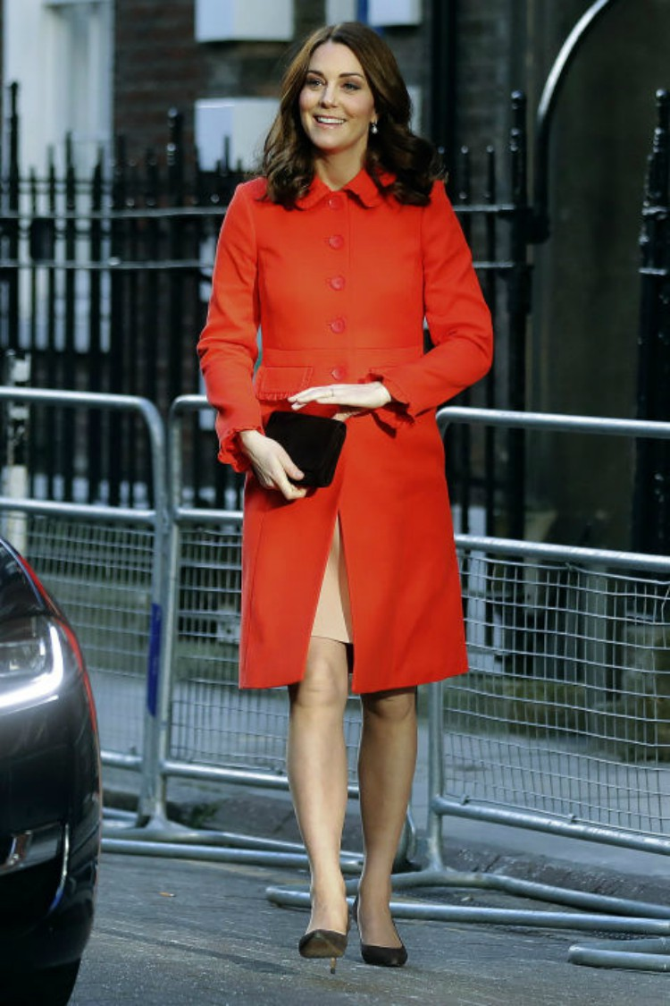 Image of Kate Middleton in red coat.
