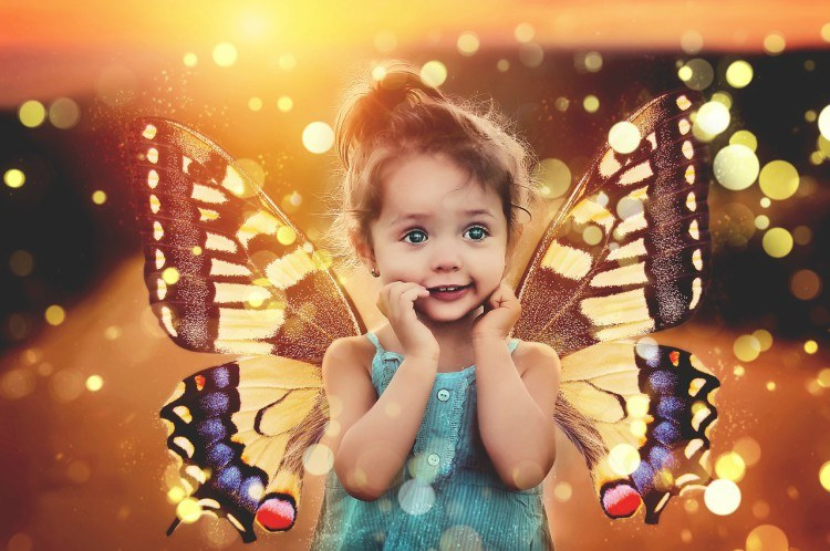 little girl butterfly
