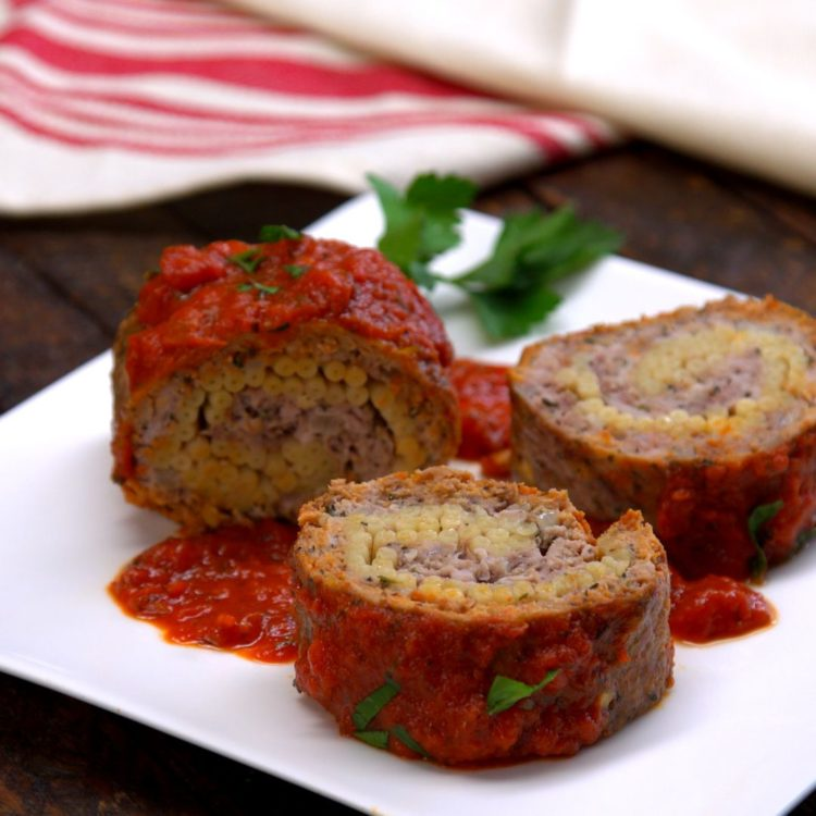 Pasta-Stuffed Meatloaf Roll slices plated