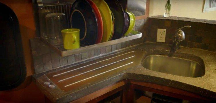 Image of kitchen in garage house.