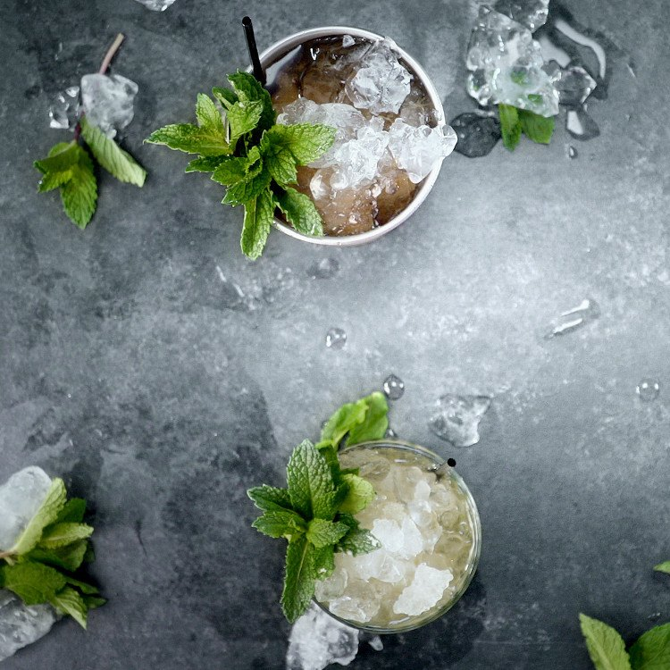 two mint juleps