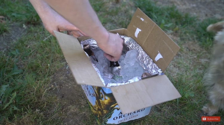 Make a cooler out of cardboard boxes and bubble wrap