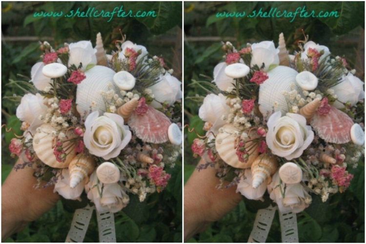 Mix shells with flowers for beachy bridal bouquet