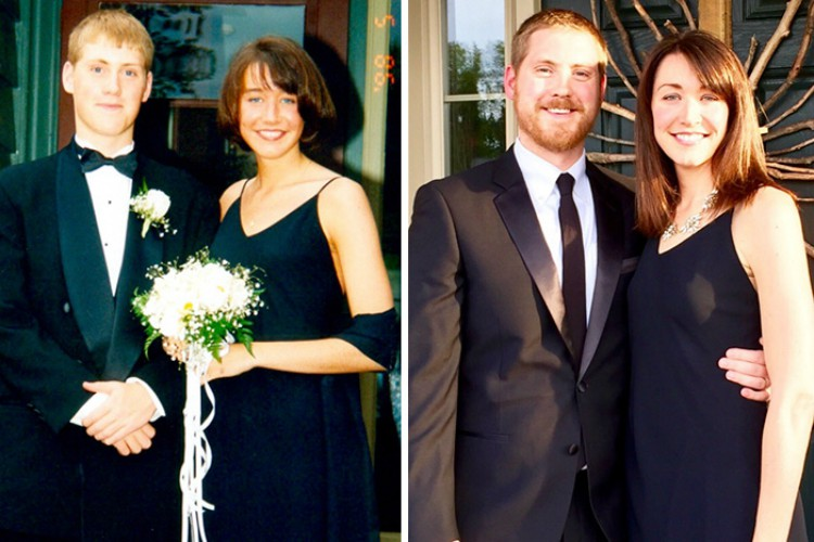 Image of before and after couple at prom