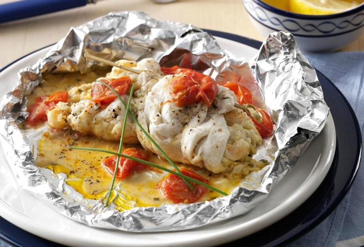 Crab-stuffed sole in foil.