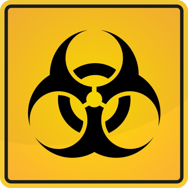 Yellow biohazard sign.
