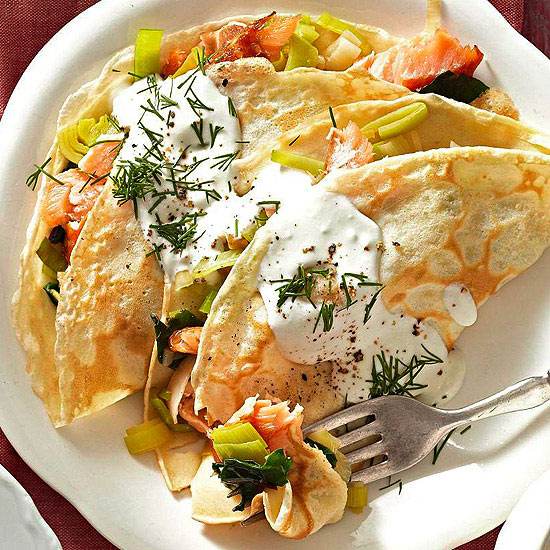 Salmon and Goat Crepes