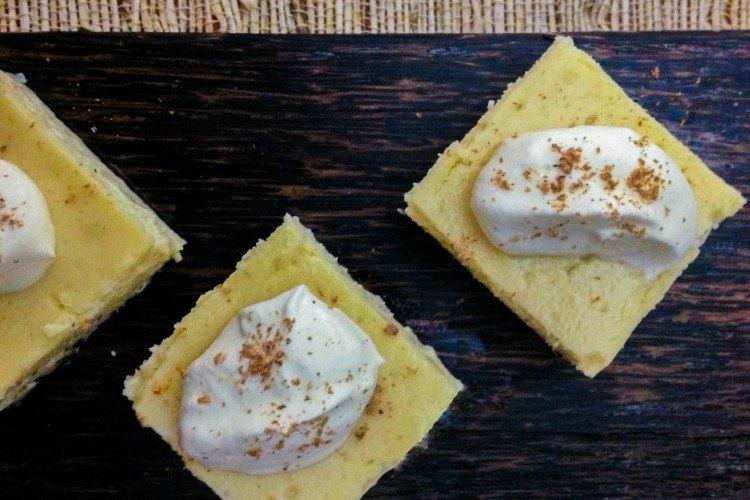 Image of eggnog cheesecake bites.