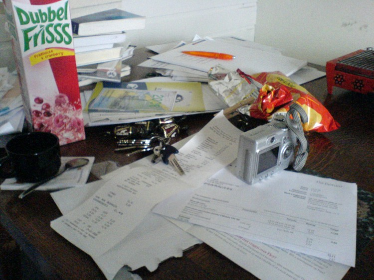 Image of a cluttered desk.