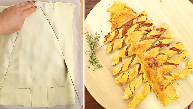 Before and after shots of the puff pastry tree.