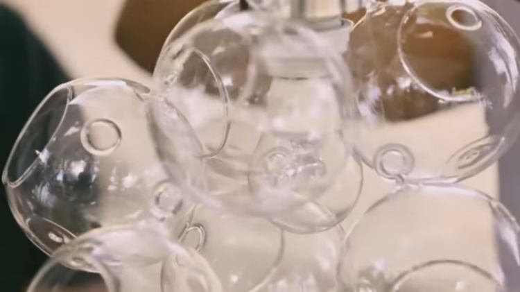 Close-up of DIY glass orb chandelier