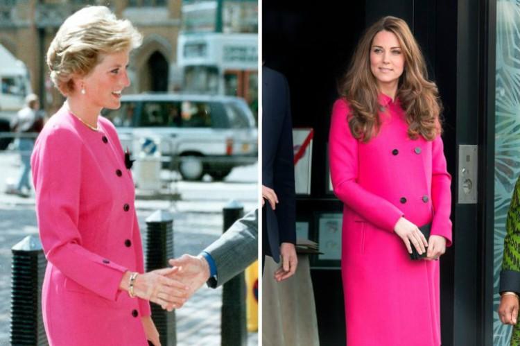 Image of Princess Diana and Kate Middleton wearing similar pink coat.