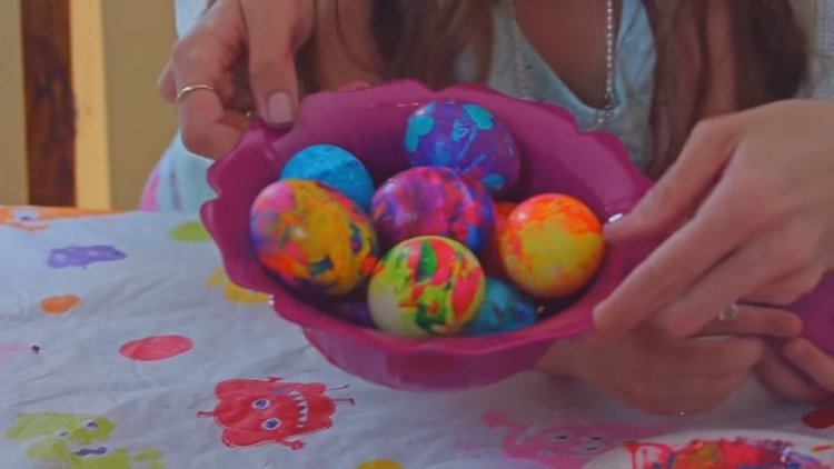 Easter eggs painted with nail polish