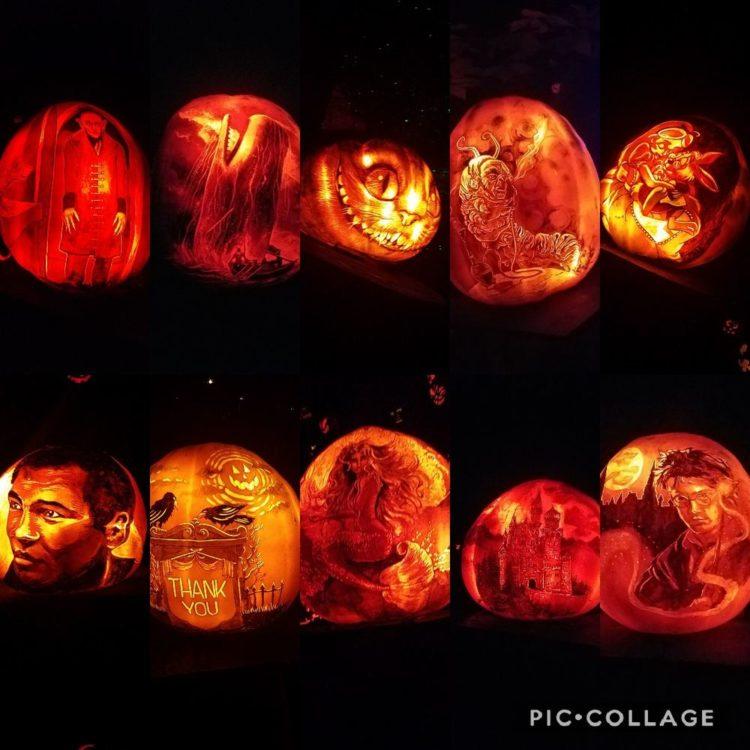 Image of illuminated jack o'lanterns
