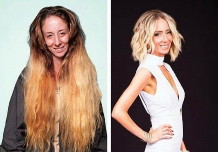 Holly before and after makeover.