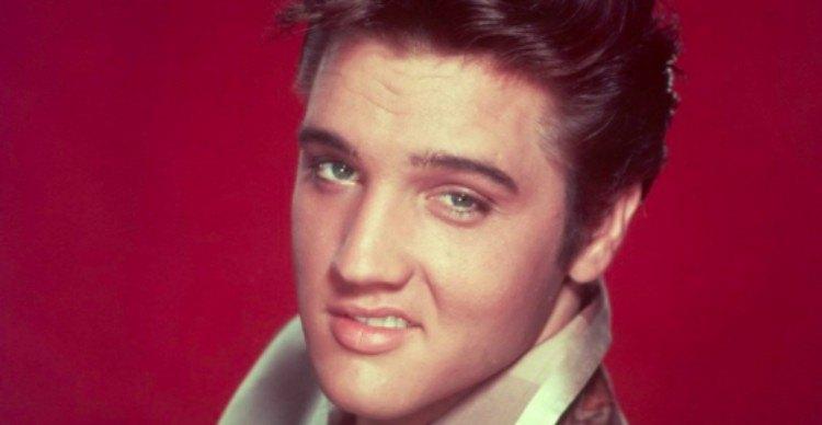 Elvis against red background