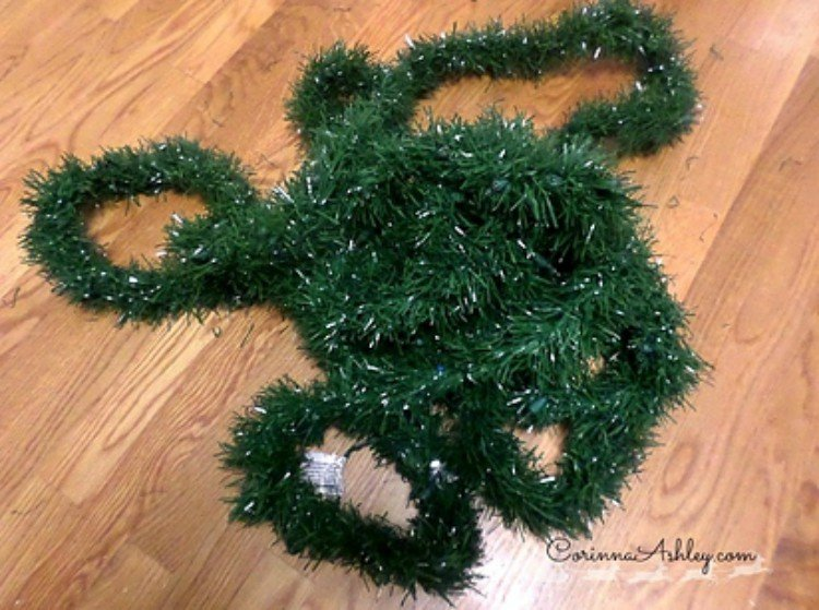 Green Christmas tinsel to fill out a tree.