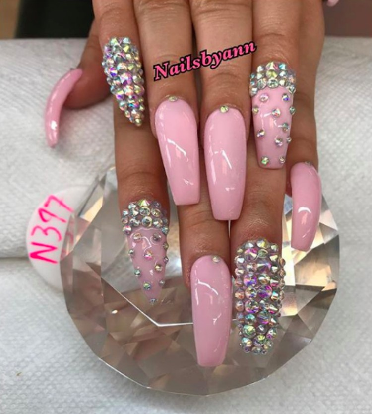 Image of long nails with jewels