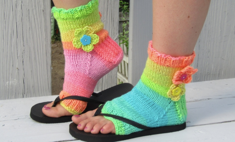 rainbow flip flop sock