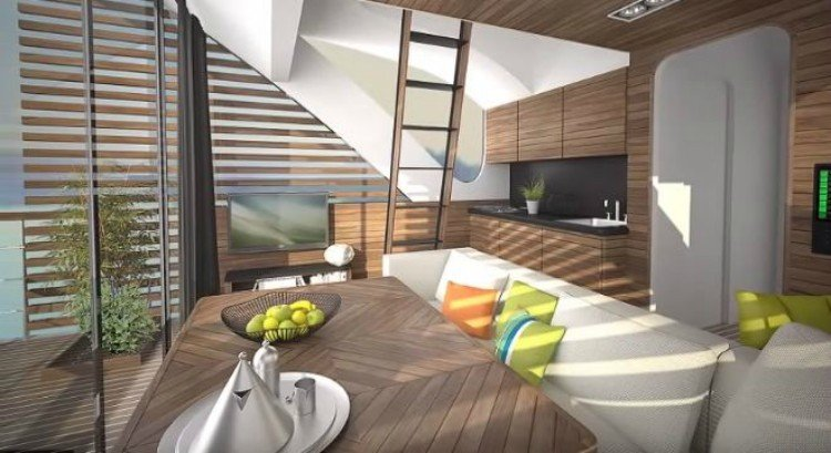 Inside of the modular floating cabins.
