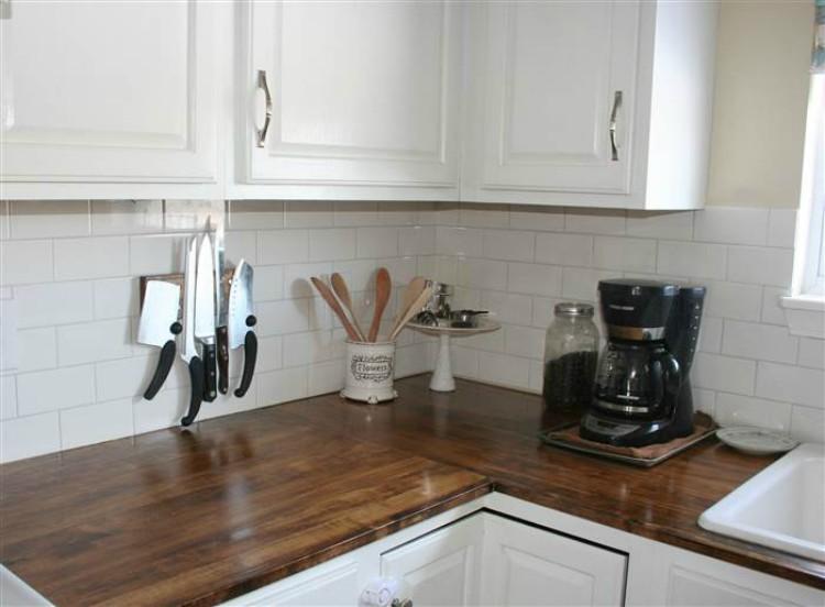 Wooden kitchen cabinets.