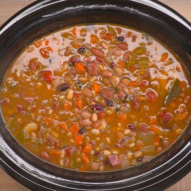 Slow Cooker Ham & Bean Soup crock pot overhead