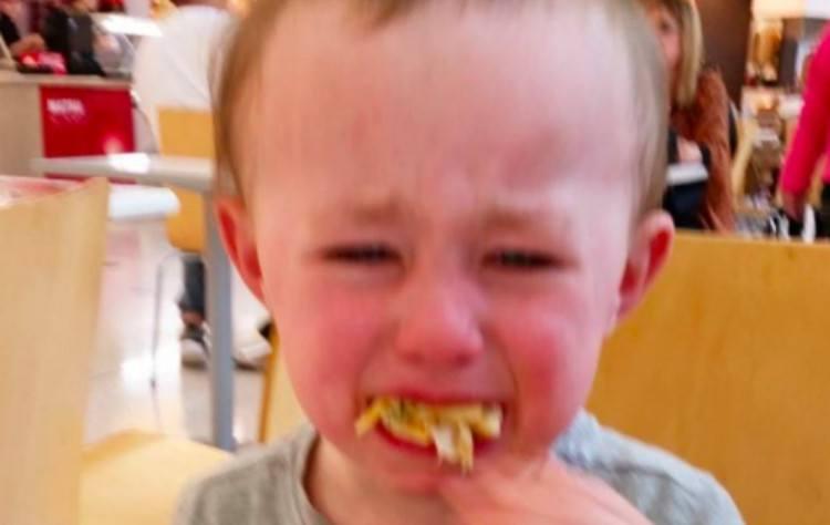 upset kids chewing