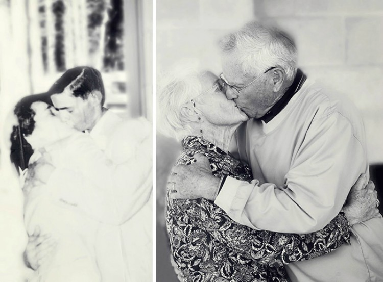 Image of before and after reenactment photo of grandparents kissing years later