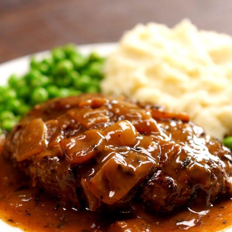 Salisbury Steak brown onion gravy close-up