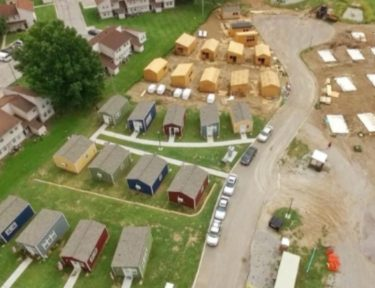 aerial view of veterans' tiny home village